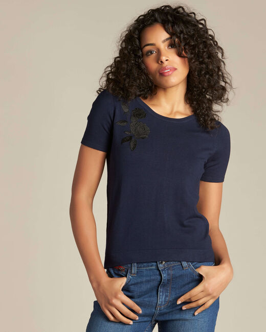 Novella embroidered navy blue sweater with short sleeves (1) - 1-2-3