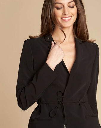 Chiara black jacket with collar and bow black.