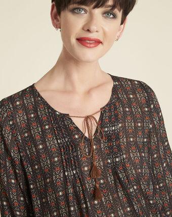 Colette black printed blouse with pompoms black.