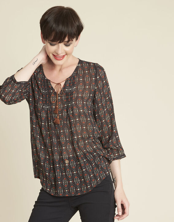 Colette black printed blouse with pompoms PhotoZ | 1-2-3