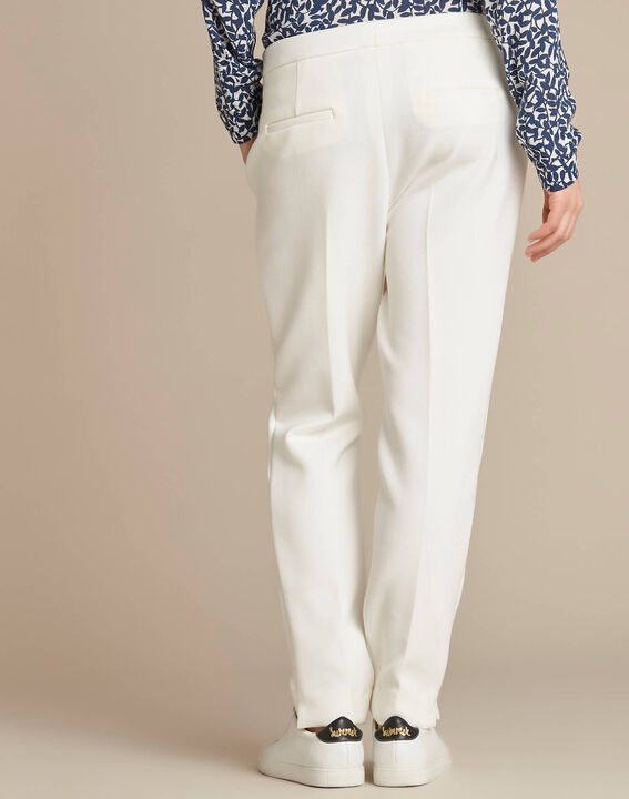 Lara slim-cut tailored ecru trousers (4) - 1-2-3