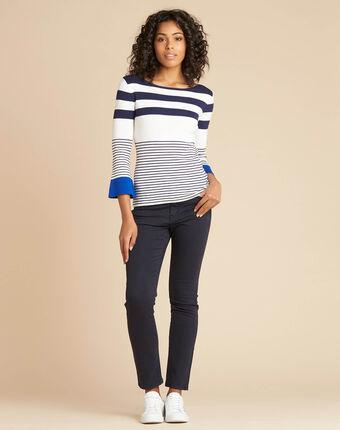 Pullover mit breiten streifen blau pins blau.