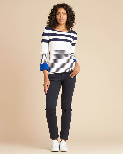 Pins blue wide-striped sweater (2) - 1-2-3
