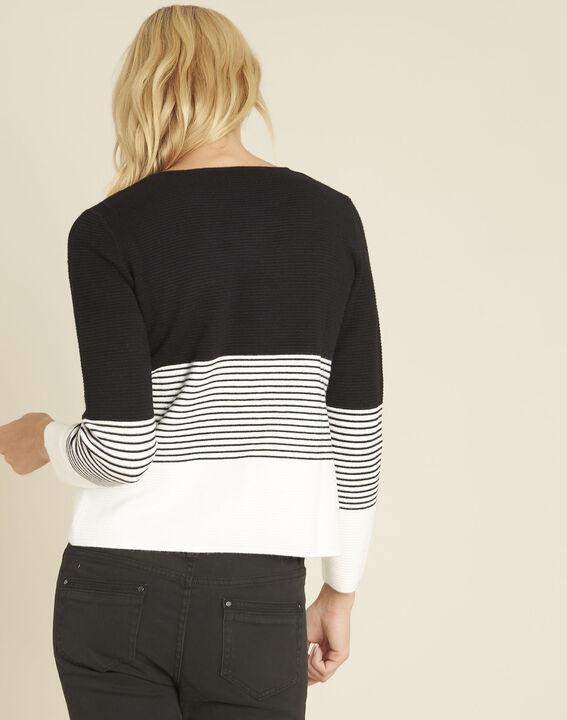 ... 1-2-3  Schwarz-weißer Pullover mit Rundhalsausschnitt Bico (4) ... 1c114756a0