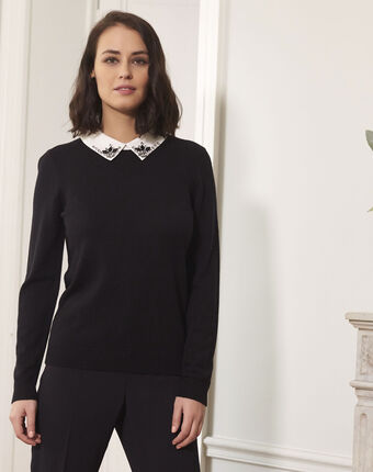 Beads black jewelled pullover with shirt-style collar black.