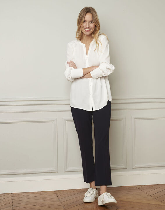 Ecru blouse van viscose met V-hals Valda (2) - Maison 123