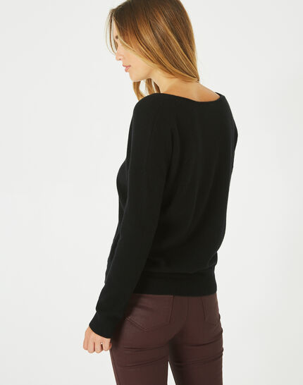 Piment black cashmere sweater with V-neck (4) - 1-2-3