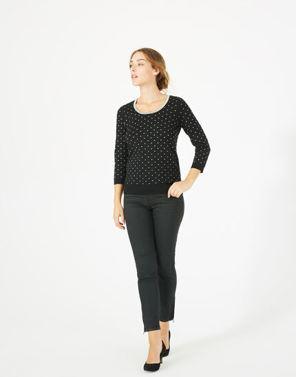 Prisme black sweater with golden polka dot detailing and a rounded neckline PhotoZ | 1-2-3