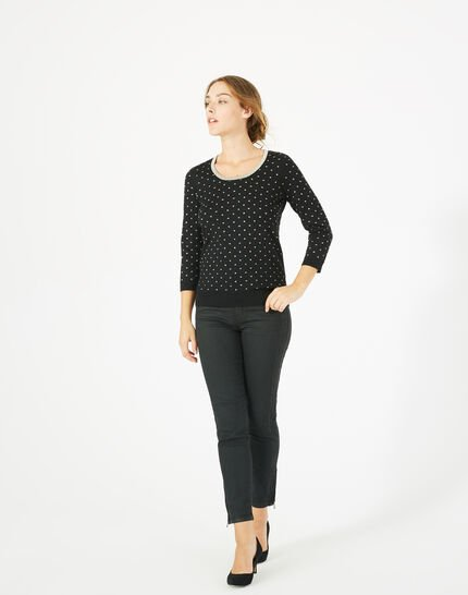 Prisme black sweater with golden polka dot detailing and a rounded neckline (1) - 1-2-3