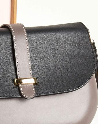 Zweifarbige blassgraue umhängetasche aus leder doris hellgrau.