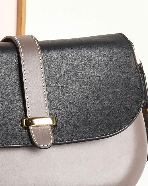 Vaalgrijze en zwarte leren tas met schouderband Doris (2) - 37653