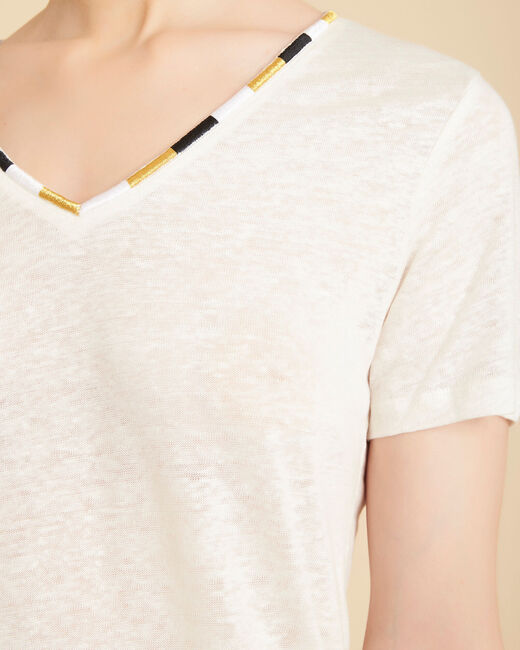 Ecrufarbenes Leinen-T-Shirt mit Fantasie-Ausschnitt Elin (2) - 1-2-3