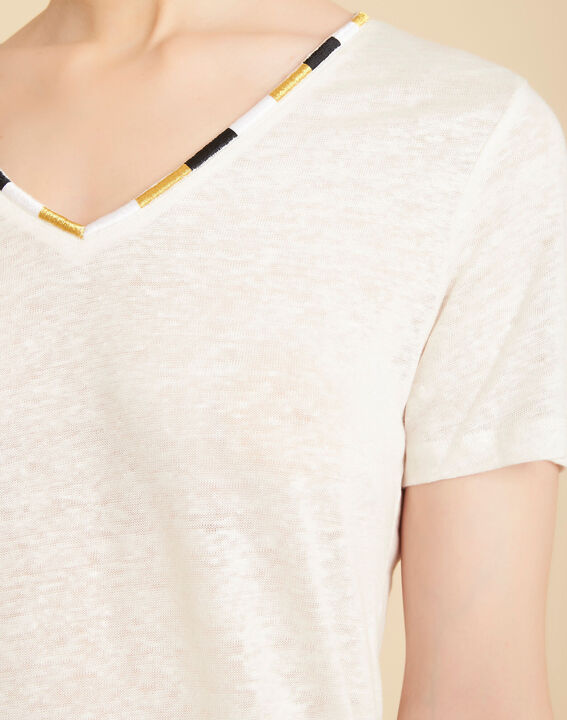 Elin ecru linen T-shirt with decorative neckline PhotoZ | 1-2-3