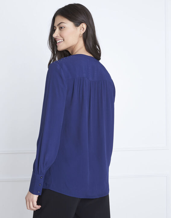 Valda navy fluid-cut blouse (4) - 1-2-3