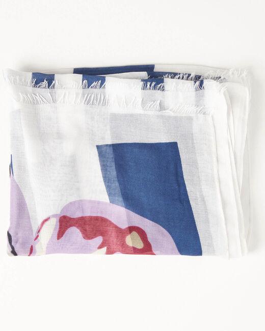 Foulard bleu impression aquarelle Alienor (1) - 1-2-3