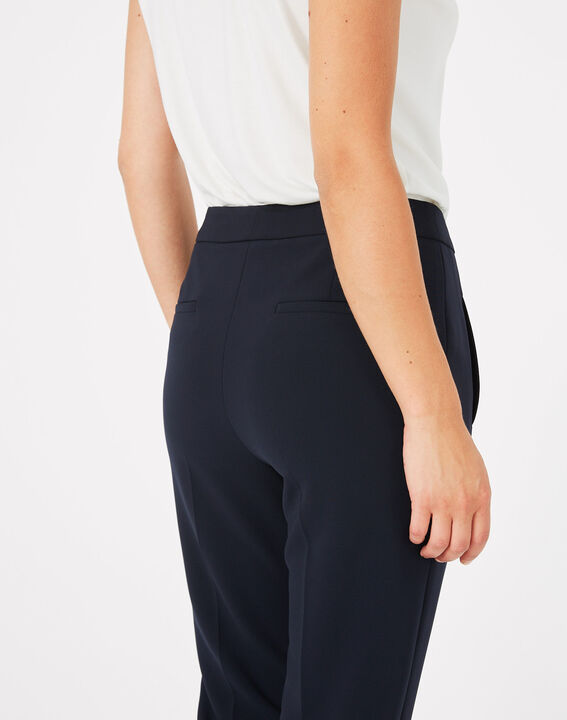 Lara navy slim-cut microfibre trousers (5) - 1-2-3