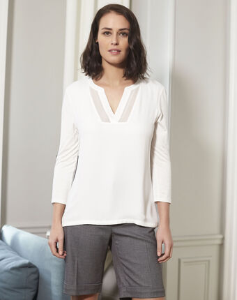 Bianca ecru bi-material blouse with a v-neck ecru.