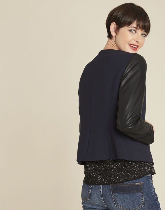 Danae navy jacket with faux leather panel (4) - 1-2-3