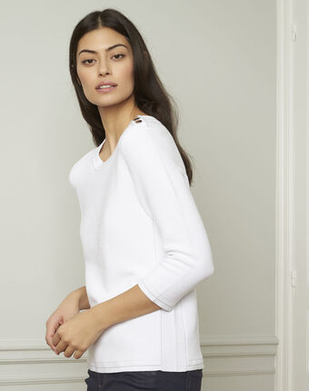 Avocado white pullover with buttons and lurex details white.