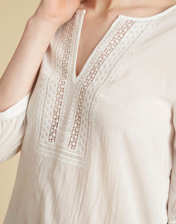 Gabi ecru blouse with lace at the neckline PhotoZ | 1-2-3