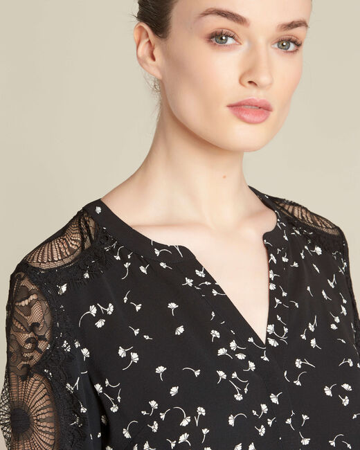 Black shirt with gingko print and guipure lace (2) - 1-2-3