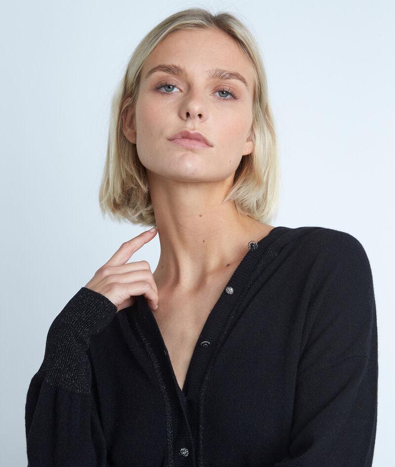 Robe à capuche en laine et cachemire noire Shalini PhotoZ | 1-2-3