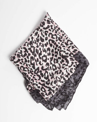 Adoucha leopard print square scarf in pale pink light pink.