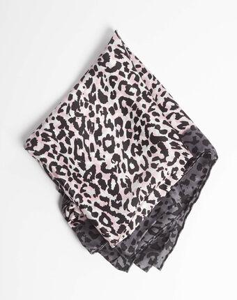 Carré de soie imprimé léopard rose pale adoucha rose pale.