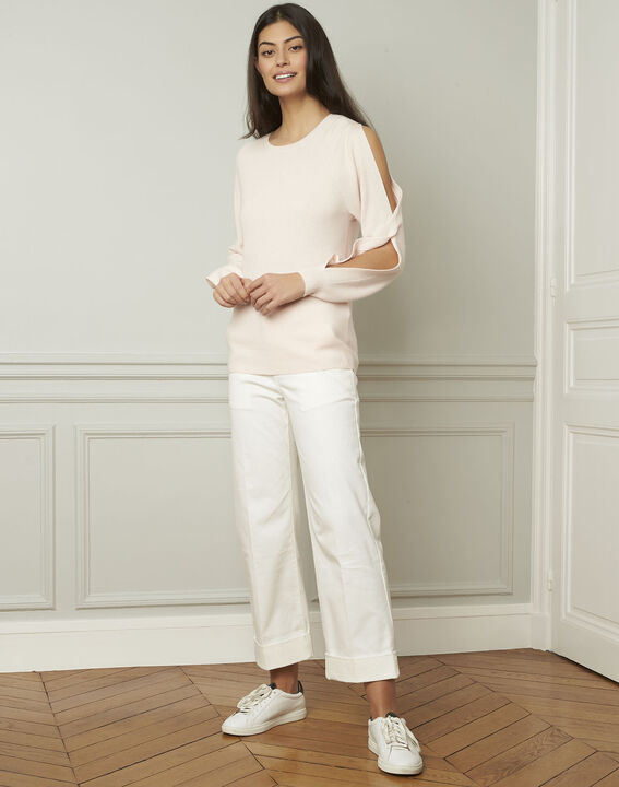 Airelle powder-coloured cold-shoulder pullover (2) - 1-2-3