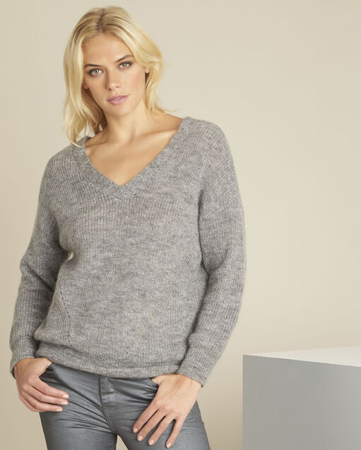 Pull gris laine col V laine mohair Baloon (1) - 1-2-3