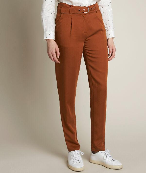 Pantalon chino en tencel caramel Issel PhotoZ | 1-2-3