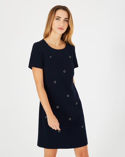 Adélie navy blue dress with eyelets (2) - 1-2-3