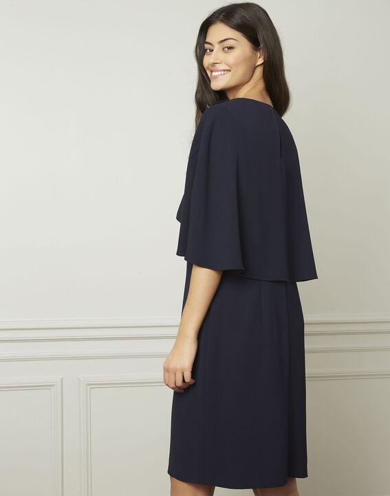 Marineblauwe jurk met cape Heidi (3) - Maison 123