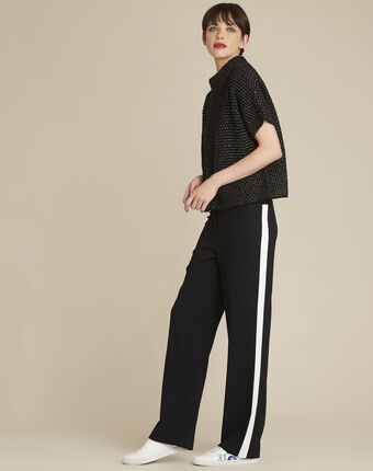 Pull noir col montant laine mélangée bami noir.