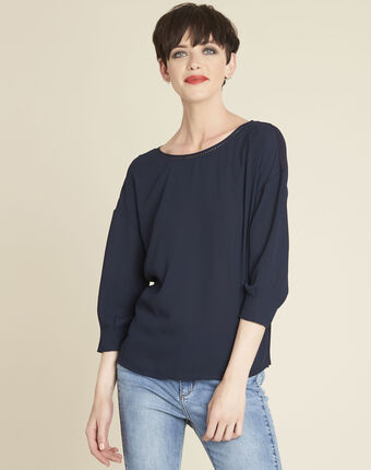 Cleo navy blue dual-fabric blouse with frilled detailing navy.