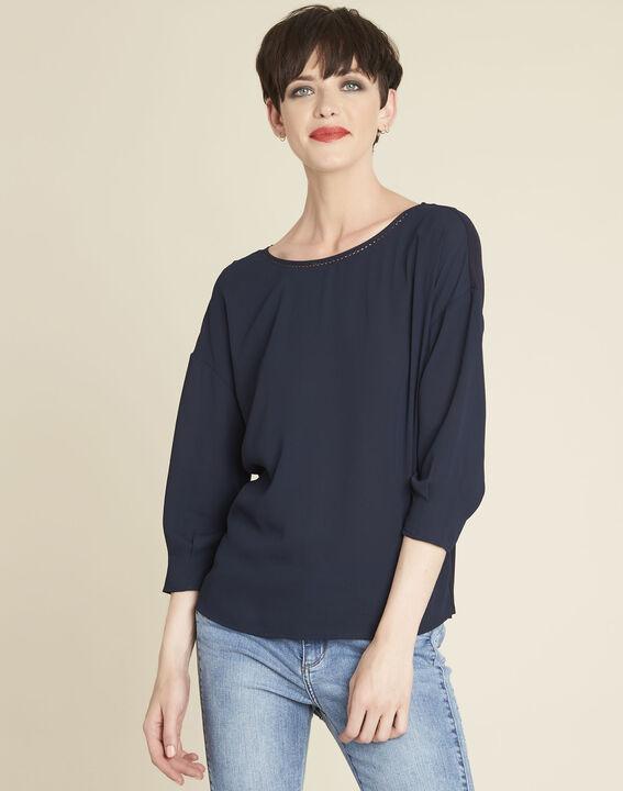 Marineblauwe blouse uit twee materialen met volants Cleo (1) - 37653