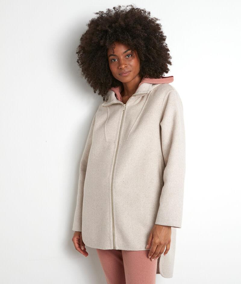 Manteau à capuche long asymétrique beige Liv PhotoZ | 1-2-3