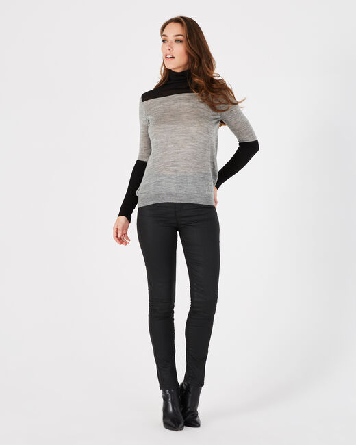 Poire striped grey sweater with polo-neck (1) - 1-2-3