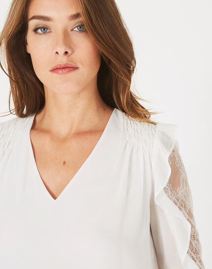 Demetra white blouse with frilly sleeves (3) - 1-2-3