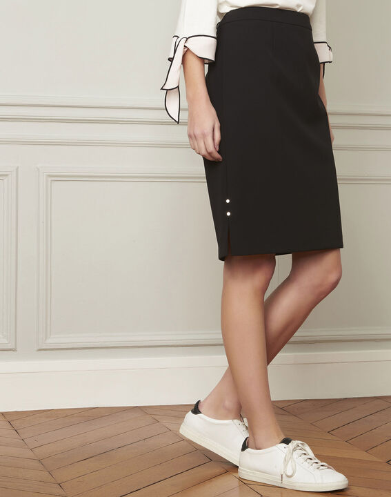 Alex black straight microfibre skirt (2) - Maison 123