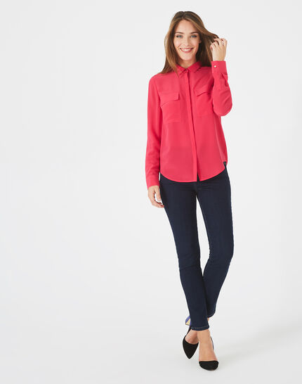 Déesse fuchsia shirt with patch pockets in silk (3) - 1-2-3