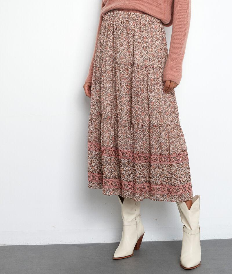 Jupe longue et vaporeuse imprimée rose Fabienne PhotoZ | 1-2-3