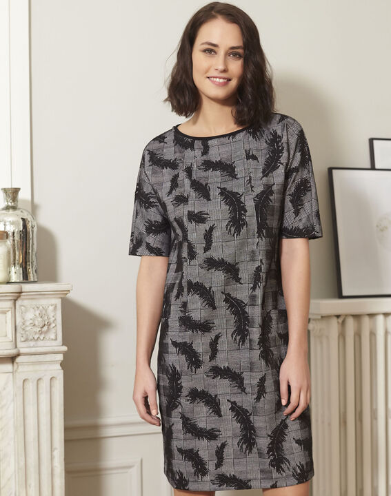 Destiny grey dress with feather print PhotoZ | 1-2-3