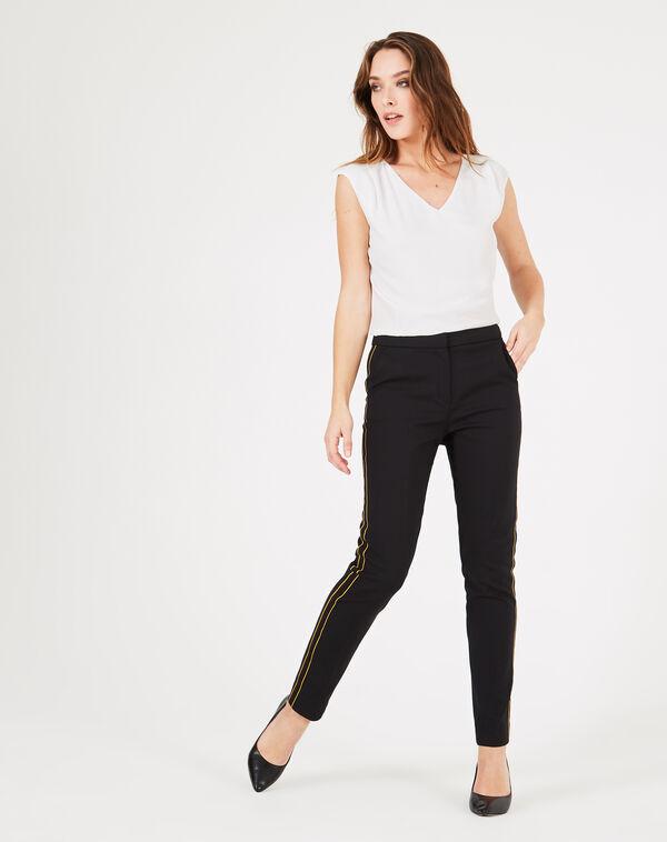 Pantalon de tailleur noir à bandes voda à
