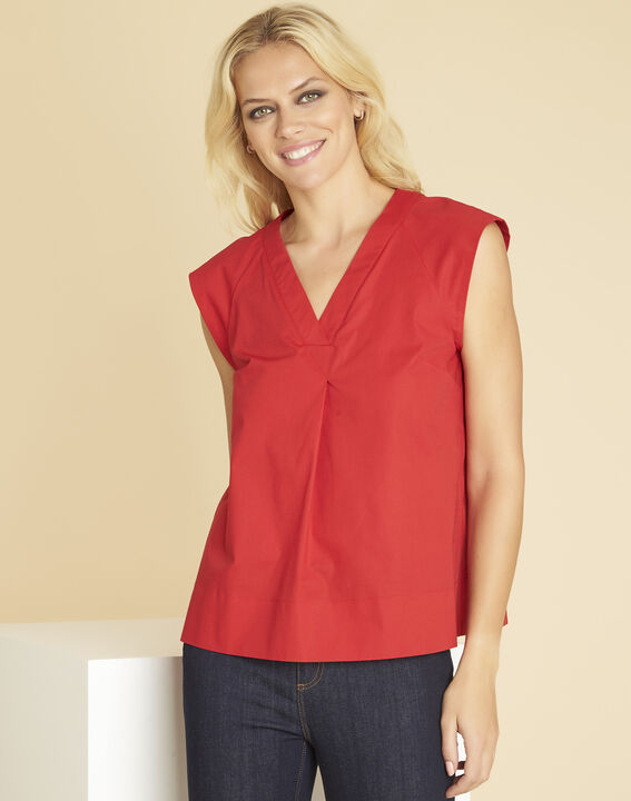 Chantal red V-neck top in poplin (1) - 1-2-3