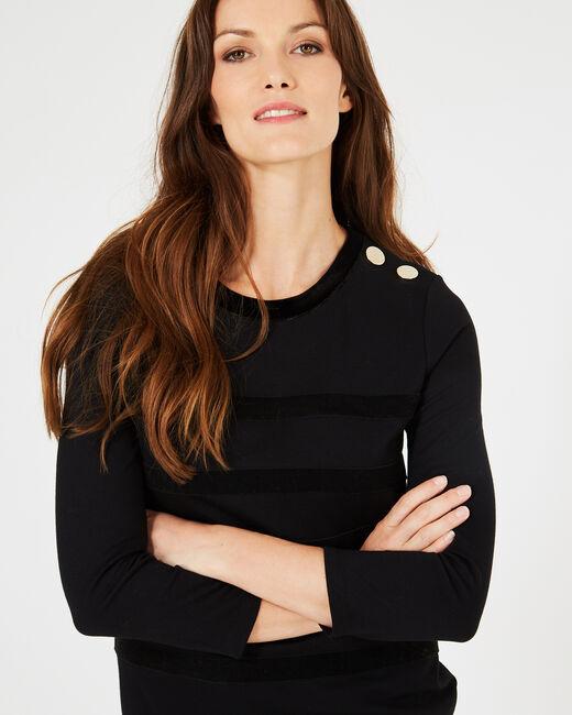 Tee-shirt noir rayures velours Bob (2) - 1-2-3