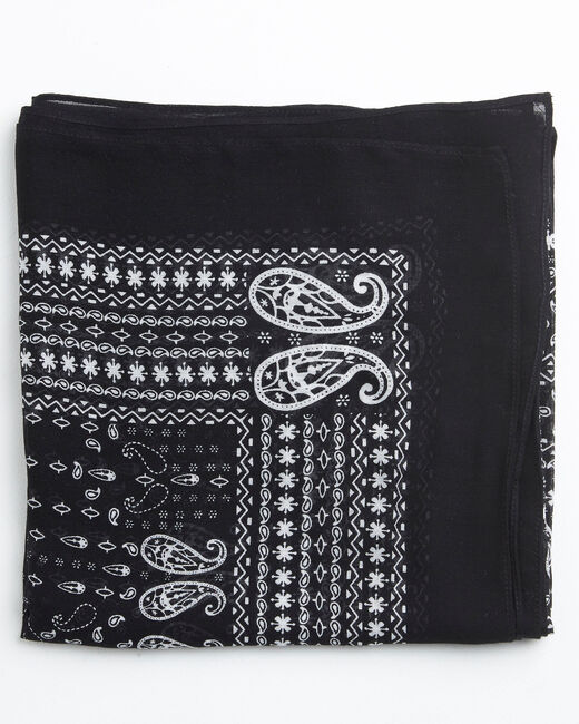 Amor bandana print black and white scarf (1) - 1-2-3