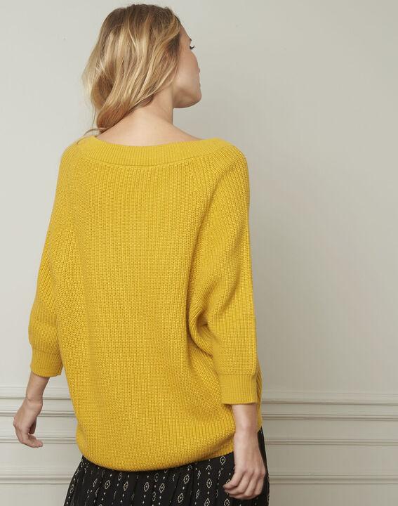 Anijskleurige trui van katoen en wol met V-hals Ankara (3) - Maison 123