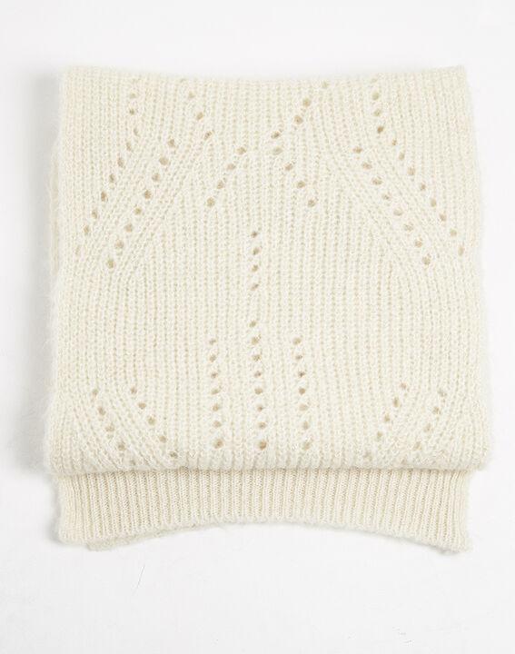 Farel ecru openwork knit scarf PhotoZ | 1-2-3