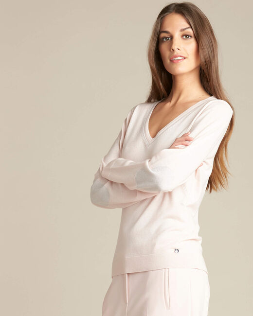 Newyork pale pink sweater in wool and silk with shiny neckline (2) - 1-2-3